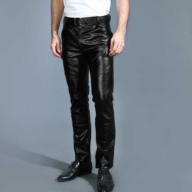 Men's Genuine Leather Pants New Autumn And Winter Goatskin Leather Bottom Motorcycle Velvet Riding Fashionable Slim Trousers