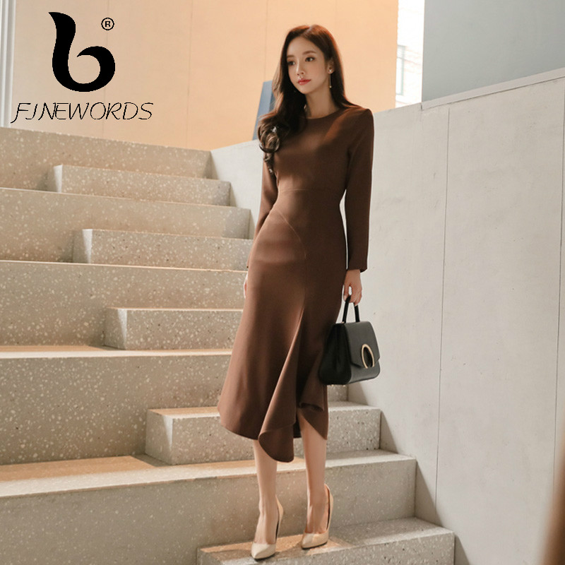 FINEWORDS Autumn Women High Quality Office Dress Elegant Long Formal Business Work Wear Korean Mermaid Dress Slim Winter vestido