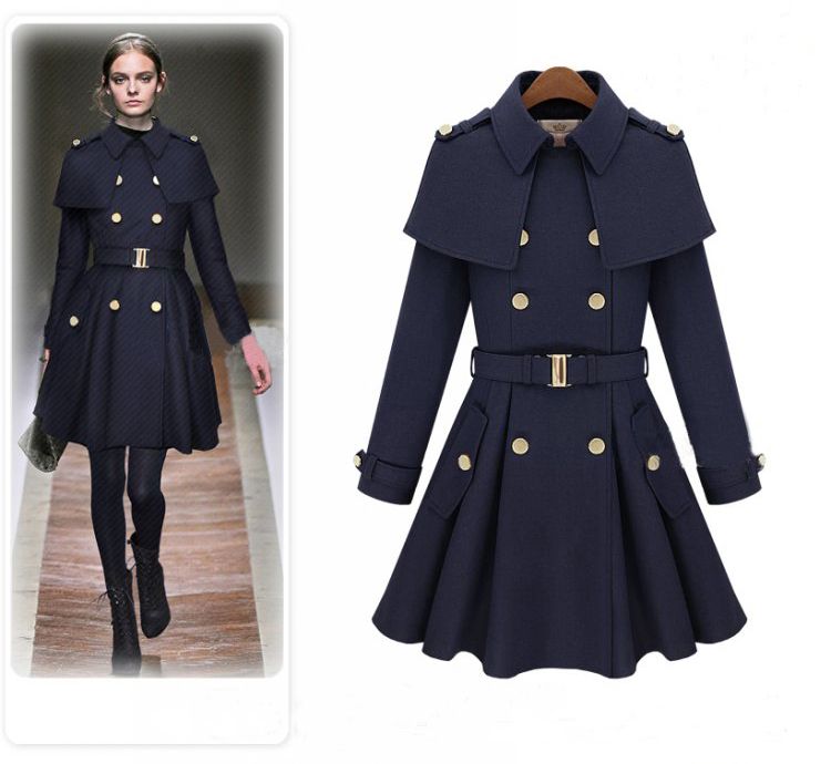 Women Winter thickening overcoat cloak cape type double breasted ...