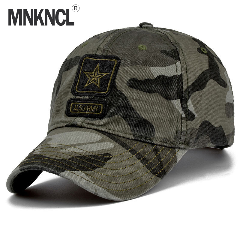 MNKNCL 2018 New Men Pentagram Cap Top Quality U.S. Army Caps Men's Fishing Hat  Camo Baseball Hats Bone Adjustable fashion rivets cotton polyester fiber men s flat top hat cap army green