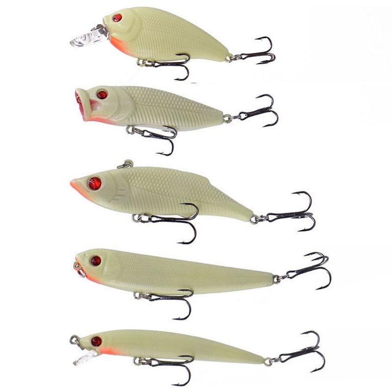 5pcs Fishing Lures Mix Minnow//Crank//Popper Bait Bass Crankbait Fishing Tackle