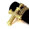 Comercio al por mayor de hip hop bling bling de La Joyería Set taladro Jesús cruz LARGO GRANDE Colgante de Collar de gargantilla cadena de oro para los hombres