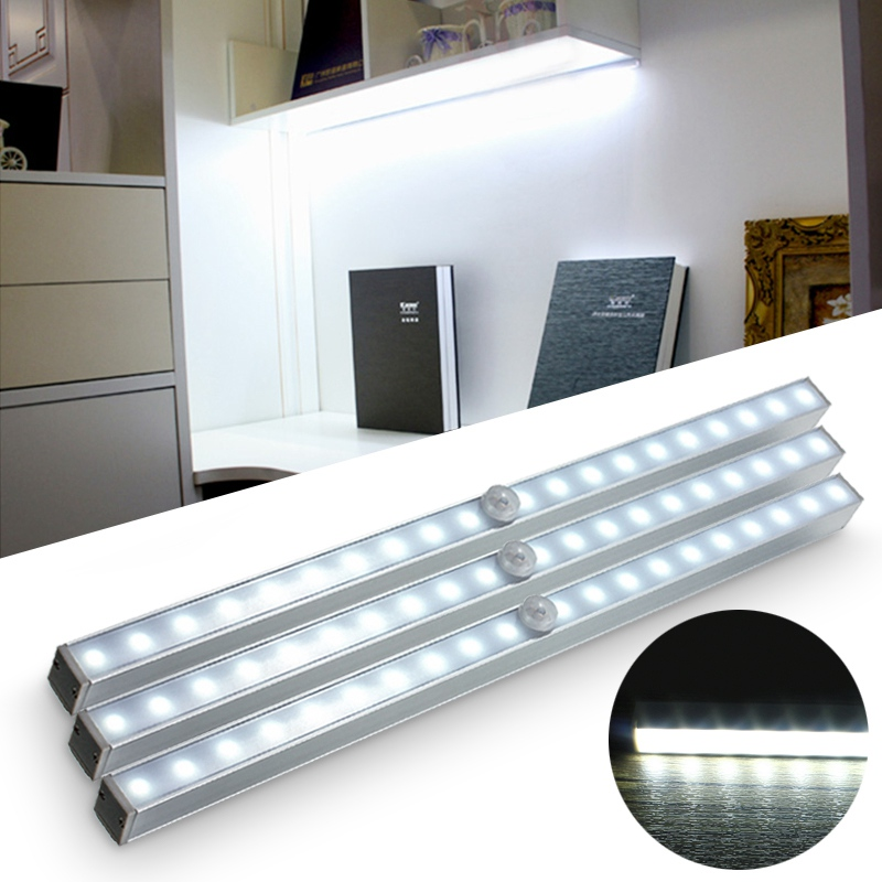 Portable 20LED Battery Powered Wireless PIR Motion Sensor Night Light Closet Cabinet LED Stairs Light / Step Light / Bar Light цена
