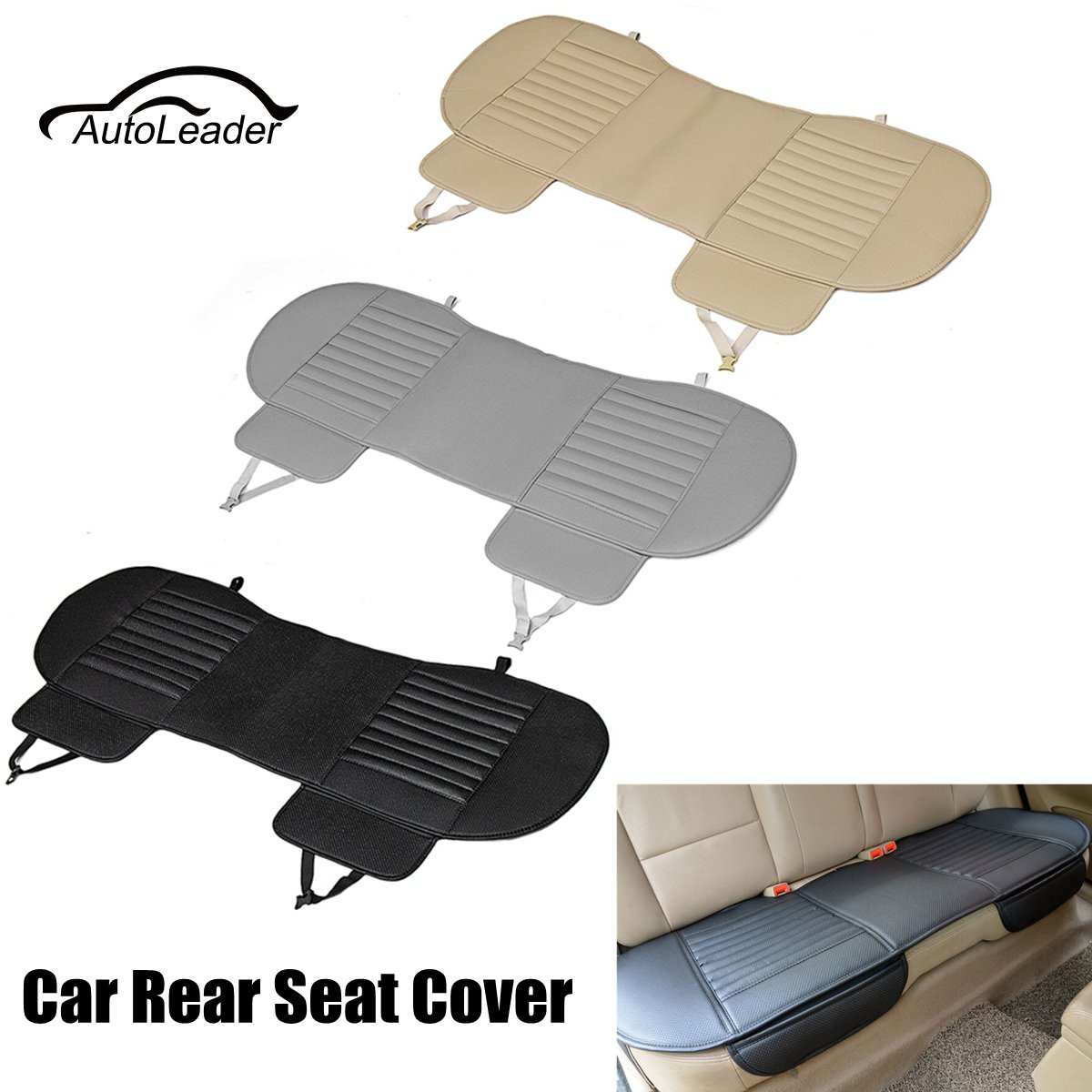 universal bamboo charcoal cushion pad pu leather car rear seat cover four seasons breathable. Black Bedroom Furniture Sets. Home Design Ideas