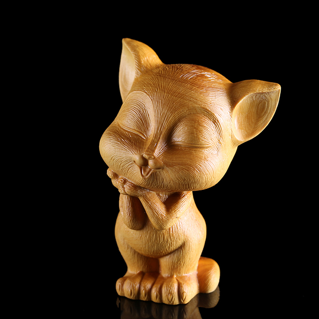 Cm cat wood carvings home small cat statue wall ornaments