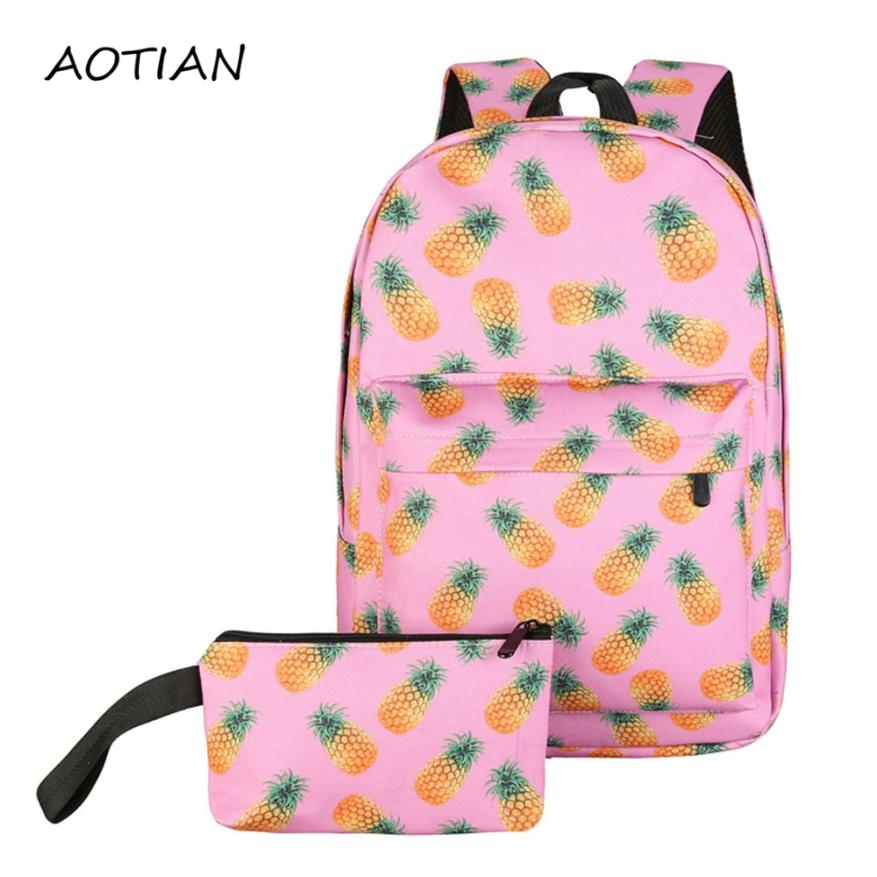 Hot Sale Women Canvas Backpack Fruit Printing Backpack School Bag for Teenager Girls Casual Female Travel Rucksack Mochilas Ja16 2016 hot sale fashion canvas cute mustache school book bag vintage women backpack casual women backpack