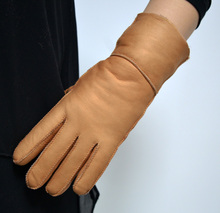 Women Real Sheepskin Leather Gloves Winter Warm Gloves Fur Wrist Gloves 2127