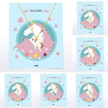 Ожерелье с единорогами для детей, подвеска, золотая, детская, для женщин, девочек, мальчиков, лошадь, модный тренд, карта, ювелирное изделие, подарок для детей, цветная