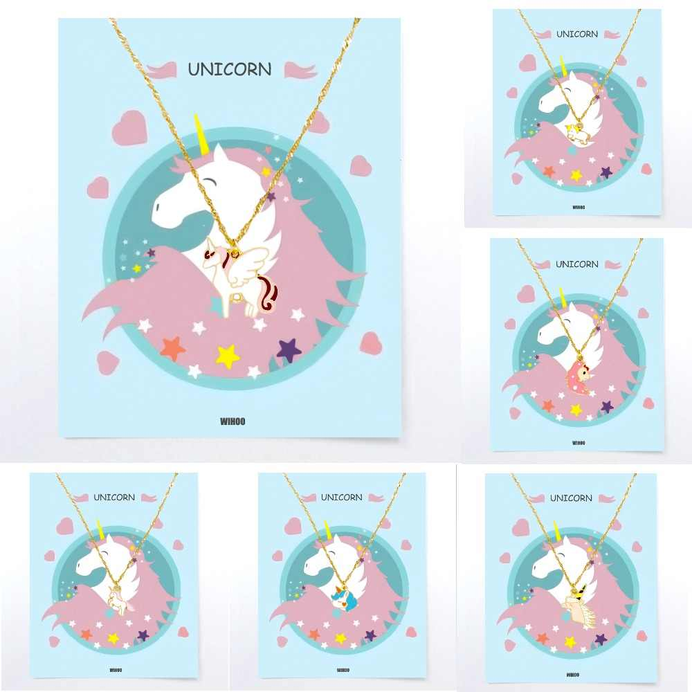 Unicorn Necklace For Children Pendant Golden Children Woman Girls Boys Horse Fashion Trend Card Jewelry Gift Kids Colourful