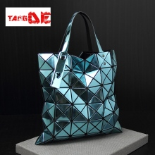 JAPANESE Geometry Quilted CASUAL DIAMOND LATTICE SOLID COLOR FOLDED WOMEN'S ROUTINE LASER TOTE BAG BAOBAO 34*34*13CM