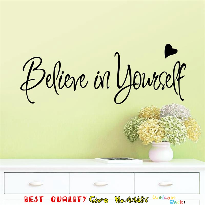 Online Shop Beileve In Yourself Inspired Words Wall Stickers Heart ...
