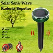 Solar Power Ultrasonic Gopher Mole Snake Mouse Pest Repeller Control for Garden with LED Light