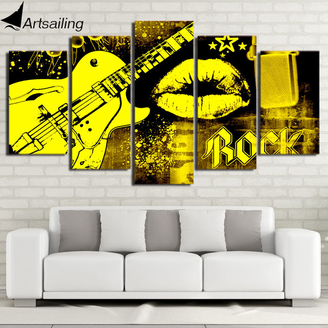 HD Printed 5 Piece Canvas Art Guitar Paintings Mouth Kiss Wall ...