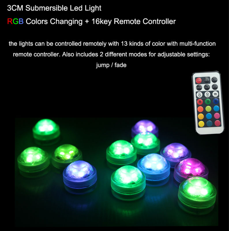 Christmas Outdoor Decoration 100% Waterpoof 3CM Mini Round LED light 20PCS Submersible RGB+Remote Battery Party Wedding Lighting