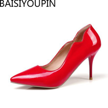 2018 Fashion New Sexy Pointed High Heeled Shoes Women Patent Leather Wedding Shoes Women's Shoes Custom Big and Small Size 30-48