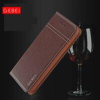 Luxury Original Brand GEBEI Genuine Leather Flip Unique Magnet Design Cases For iPhone X 6 6S 7 Plus Case Cover With Stand