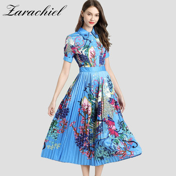 Fashion Designer Runway Blue Shirt Dress 2019 Summer Women Vintage Phoenix Flower Printed Short Sleeve Button Pleated Midi Dress
