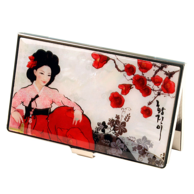 Mother of pearl korean woman rfid scan blocking business credit bank mother of pearl korean woman rfid scan blocking business credit bank name card holder case metal colourmoves