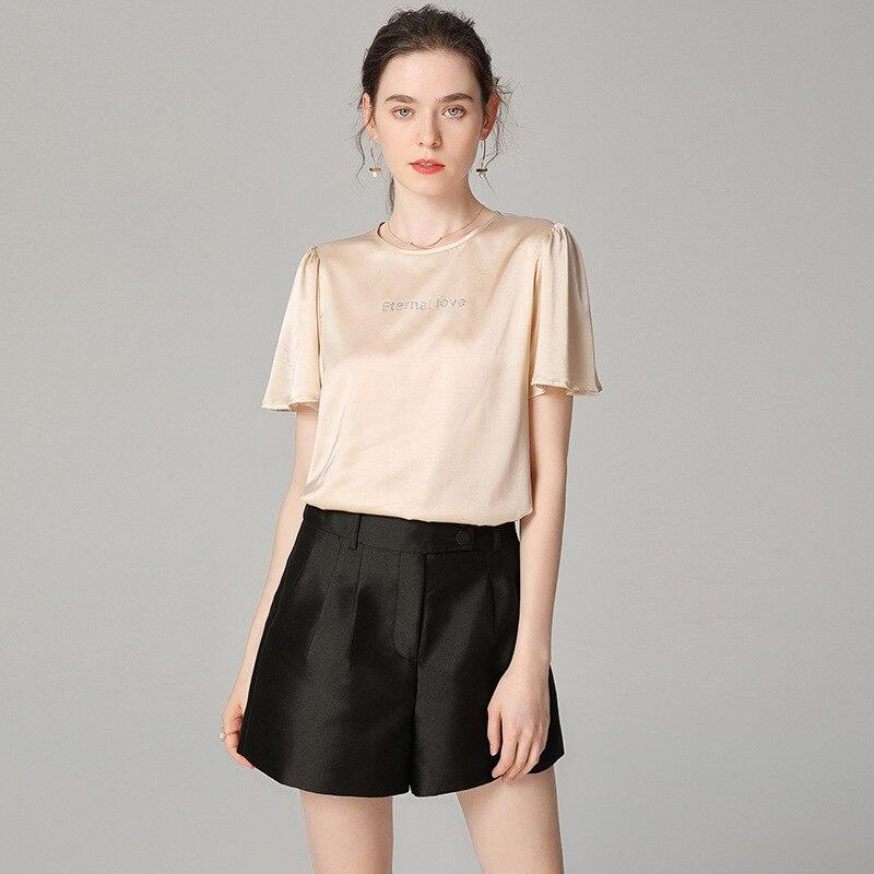 100% Silk T Shirts Summer Short Sleeve Pink Satin Tees Shirt Women Casual White Soft Pullover Basic Khaki Ladies Tops za poleras