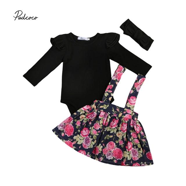 c0ada2e3229c Cute 2017 Autumn Newborn Princess Girl Clothes Long Sleeve Black Romper  Tops+Floral Overall Skirt Headband 3PCS Outfit