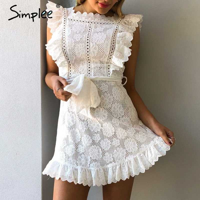 b0042397ca ... Simplee Elegant embroidery lace women dress Hollow out sashes ruffle  white summer dress Slim sexy party ...