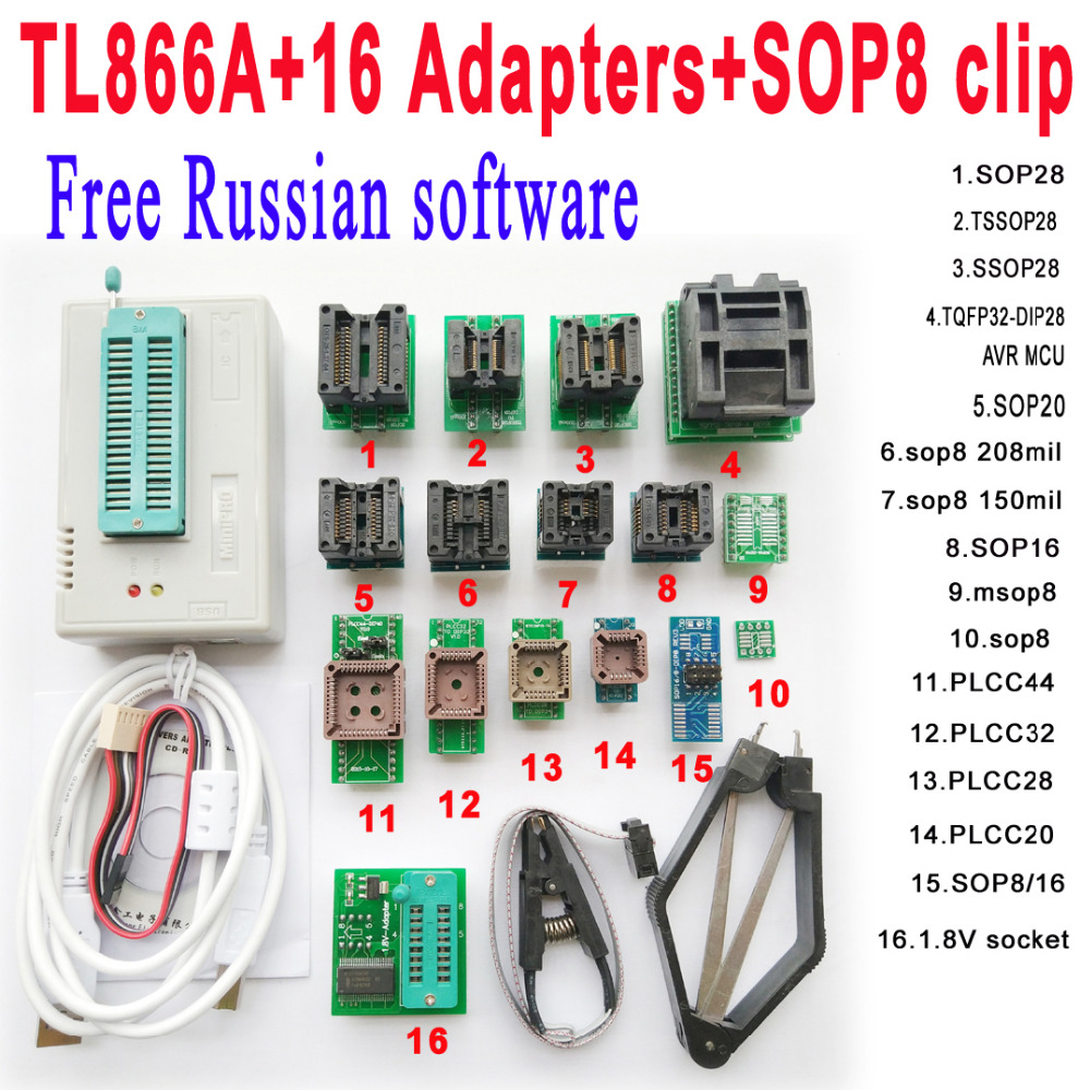 Free Russian software Original Minipro TL866A programmer 16 adapter socket SOP8 Clip IC clamp V6 6