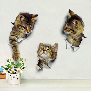 3D Cats Wall Sticker Hole View Bathroom Living Room Decoration Home Decor Animal Vinyl Decals Art Poster cute Toilet Stickers - discount item  42% OFF Home Decor