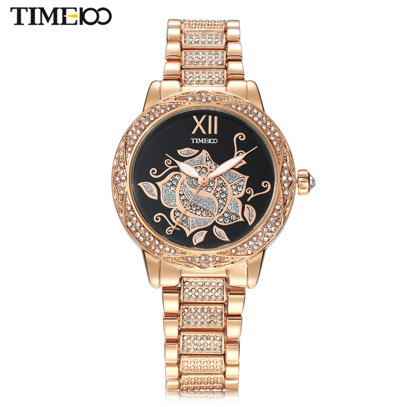 Time100 Luxury Fashion Women Quartz Watches Gold Stainless Steel Strap Diamond Ladies Wrist Watches Clock relojes mujer new time100 luxury brand women diamond three subdial multifunction high tech ceramic ladies dress quartz watches for women clock