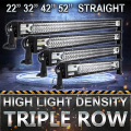"Oslamp 22"" 32"" 42"" 52"" Straight LED Bar for Car SUV Triple Row CREE Chips Led Work Light Pickup OffRoad Driving Light Bar Combo"