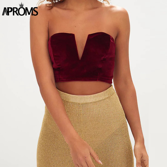 cd64d9bb4f Sexy Velvet V Neck Crop Top 90s Girls Off Shoulder Sleeveless Tube Top for  Women Clothing Casual Bralet Bra Tank Tops