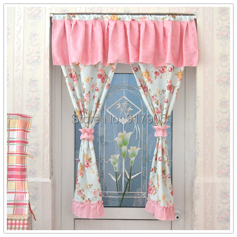 Romantic Pink Rose Print Curtains Designer Rustic Vintage Floral Sheer  Curtains Elegant Gingham Print Kitchen Door Curtains In Curtains From Home  U0026 Garden ...