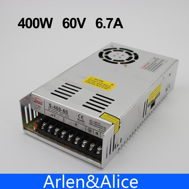 400 W 60 V 6.7A fuente de alimentación de conmutación de salida única AC a DC SMPS CNC