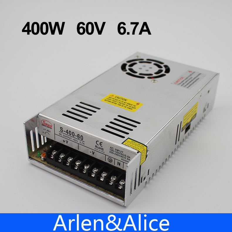 400W 60V 6.7A Single Output Switching power supply AC to DC SMPS CNC single output dc 36v 11a 400w switching power supply for led light strip 110v 240v ac to dc36v smps with cnc electrical equipmen