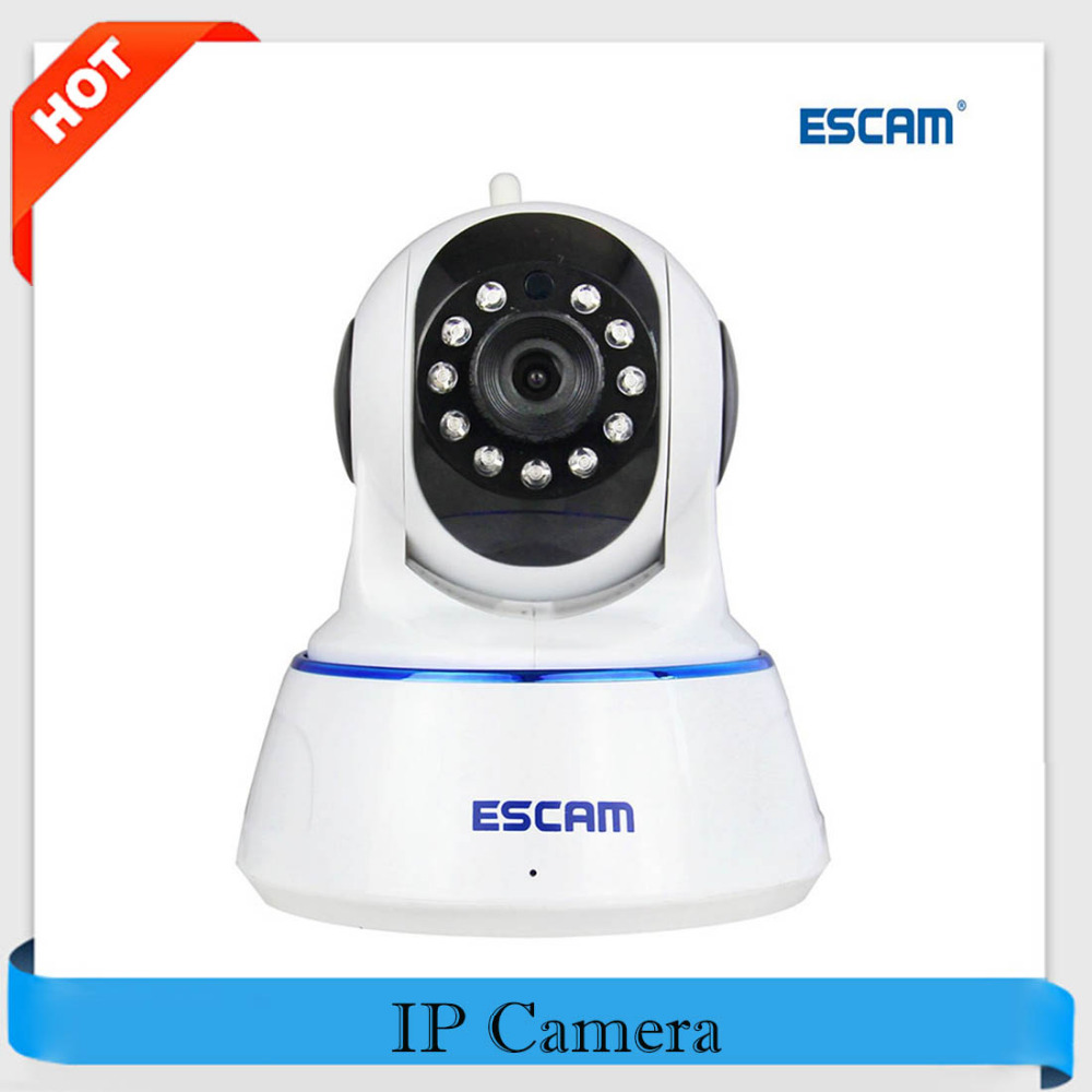 цена на Escam QF002 Mini WiFi IP Camera HD 720P CCTV Security Camera System P2P IR Cut Two Way Audio Micro SD Card Slot Night Vision Cam