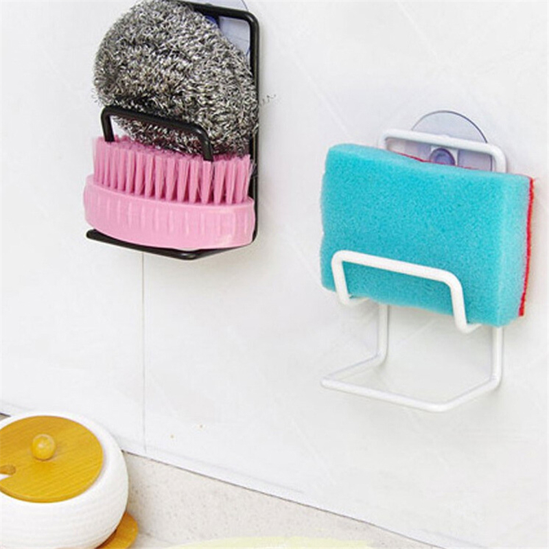 Home Practical Kitchen Bathroom Organizer Rack Sink Sponge Draining Towel Soap Storage Holder Wall Mounted With Suction Cup