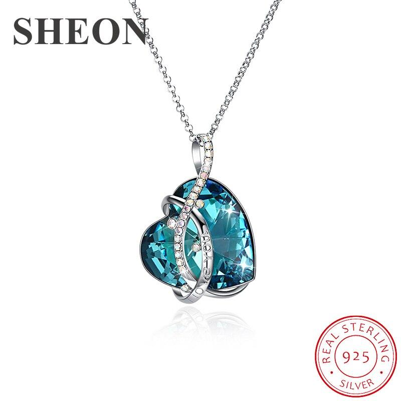 SHEON 925 argent sterling lignes irrégulières coeur cristal pendentif colliers chandail chaîne pour les femmes Fine anniversaire bijoux cadeau