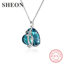 SHEON 925 sterling silver Irregular Lines Heart Crystal Pendant Necklaces Sweater Chain for Women Fine Anniversary Jewelry Gift цена и фото