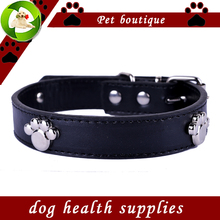 Fashion font b Dog b font Collars Personalized Paw Accessories Pu Leather Collar Black Red Yellow