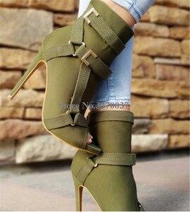 Image 5 - Neue Design Frauen Mode Peep Toe Wildleder Leder Stiletto Ferse Kurze Stiefel Schnallen Riemen Schwarz Armee Grün Hohe Ferse Knöchel booties