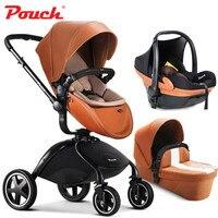 HK Бесплатная доставка! Бренд Детские коляски сумка коляски 3 в 1 Автокресло baby сна новорожденного Роскошные детские автомобильные кожа каре