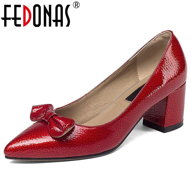 FEDONAS mode femmes pompes nouveau papillon noeud en cuir véritable bout pointu chaussures de mariage femme printemps été talons de ville-in Escarpins femme from Chaussures    1