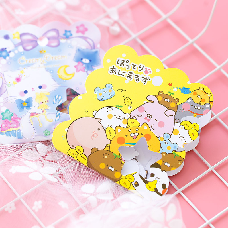 50pcs/Pack Kawaii Cat Panda DIY Adhensive Decorative Sticker Stick Label Computer Decor School Student Stationery Kid Gift