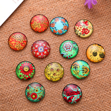 50Pcs Mixed Flowers Round Glass Cabochons Cameos Dome Seals Embellishments Crafts Findings 35mm