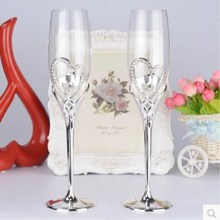 1 pair wedding glass wine cup  champagne Crystal Cup flute goblet Red heart-shaped diamond lovers Wedding Decor
