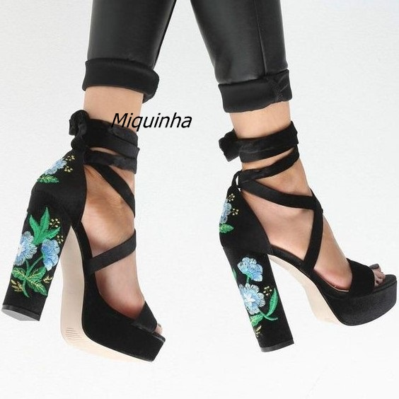 Chic Black Suede Block Heel Sandals Classy Floral Embroidered Chunky High Heel Lace Up Dress Sandals Women Platform Shoes Hot
