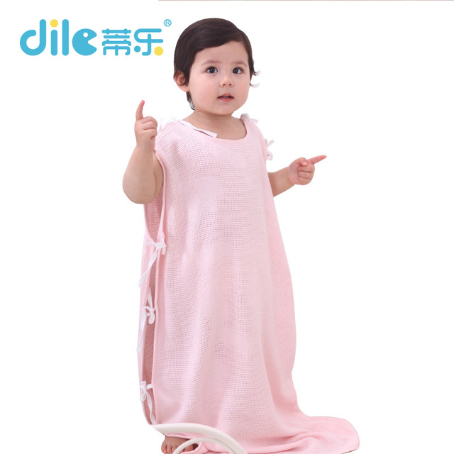 Dile Baby Pure Color Bamboo Sleeping Bag Born Sleepsack with Belts Soft Baby Bedding Clothing Solid Sleeping Bag