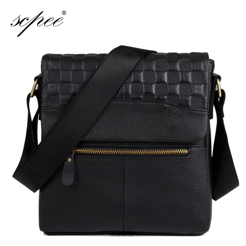 SCPEE brand leather men's bags casual business grid postman shoulder bag package