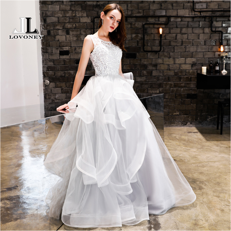 LOVONEY Sexy Open Back Long Evening Dress with Lace Robe De Soiree Formal Dress Women Occasion