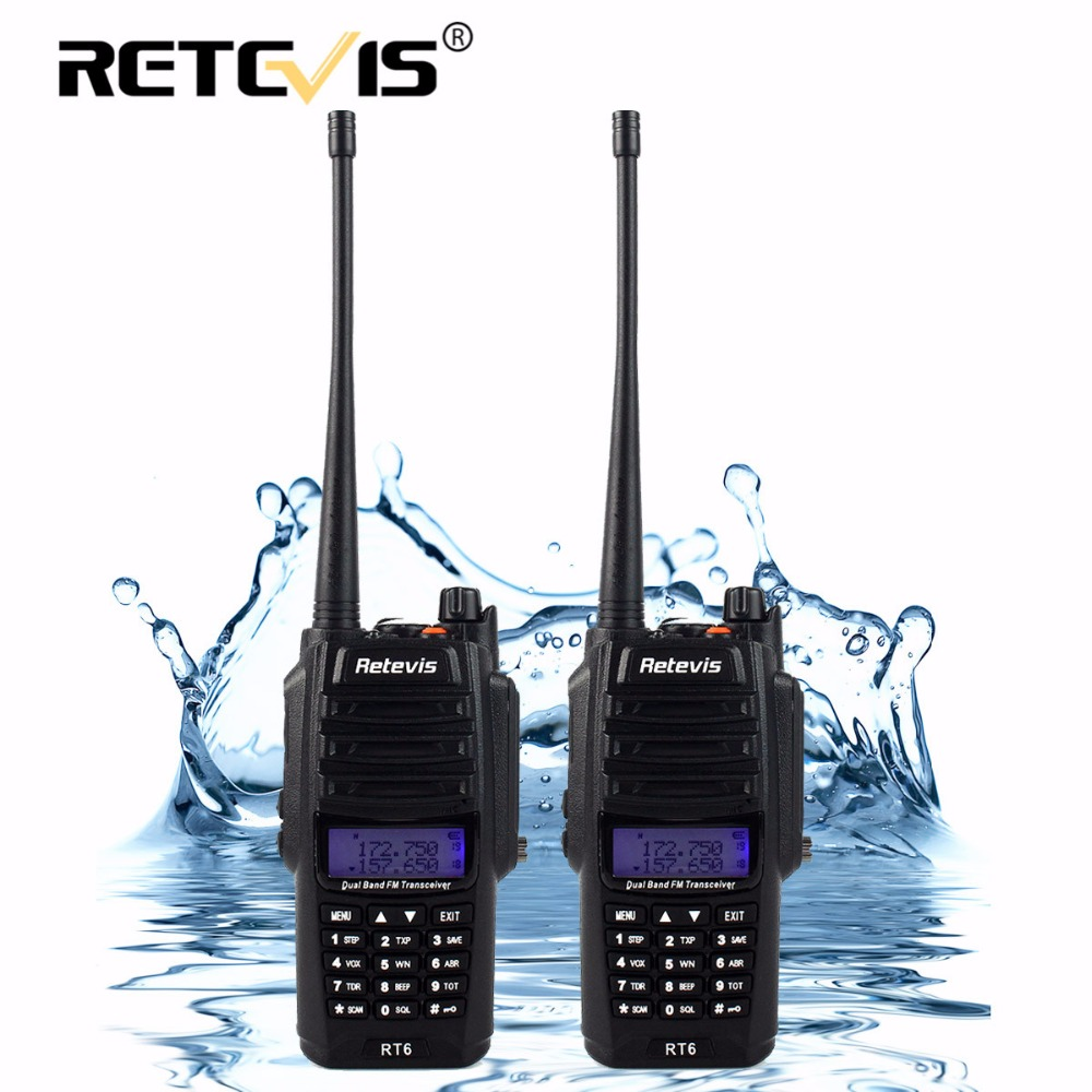 2pcs IP67 Waterproof Walkie Talkie Pair Retevis RT6 5W 128CH VHF UHF FM Radio VOX SOS