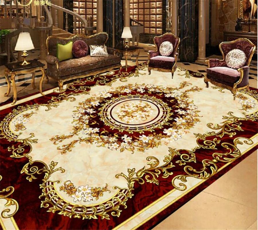 Beibehang European Style Ceiling Carpet Floor Painting Pattern Floor Painting Room Living Room Bedroom Bathroom 3D Floor photo